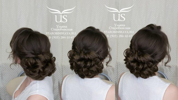 прически на средние волосы пучок из локонов