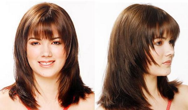 Прически с челкой на средние волосы на круглое лицо