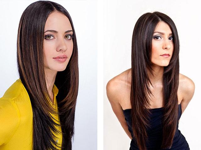 Женские стрижка лесенка на длинные волосы