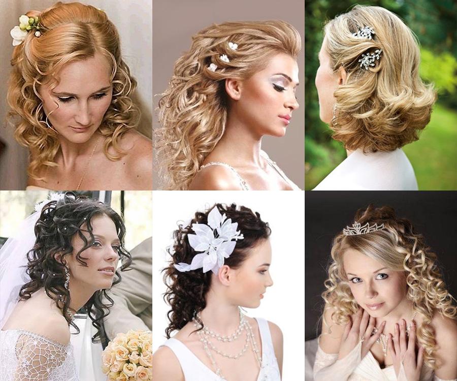 Причёска невесты на среднюю длину